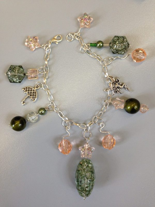 Charm Bracelet - green and pink