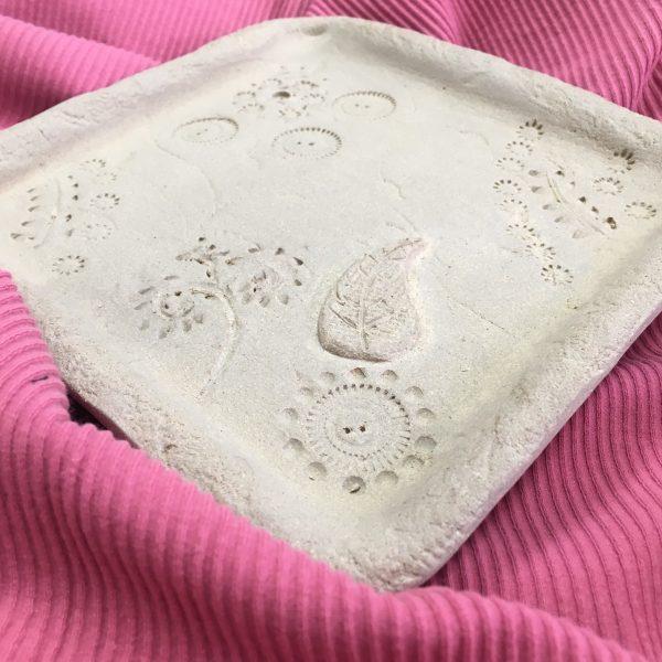 Unglazed Decorative Pottery Dish