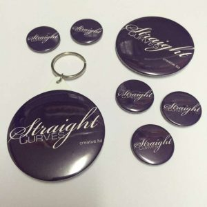 StraightCurves badges and keyrings