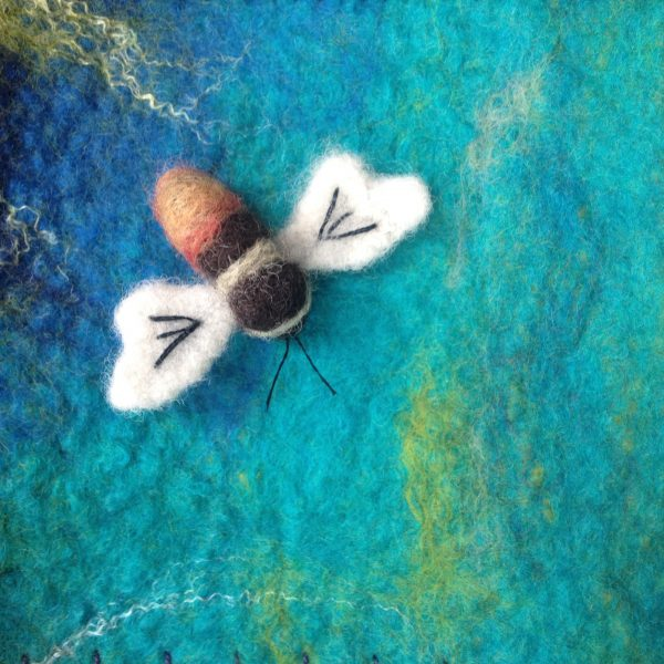 Needle felted bee brooch