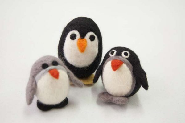 Needle felted festive decorations - three little penguins