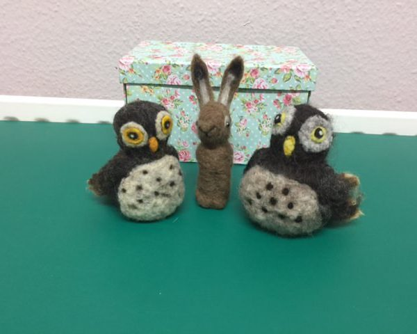 Needle felted owls and hare