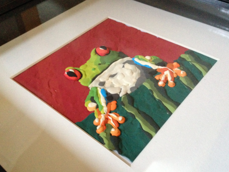 Frog creation painted with Jumping Clay