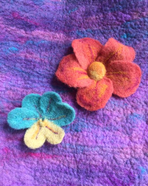Needle felted flowers