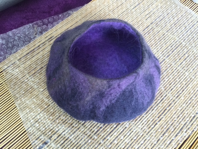 Wet felted pot