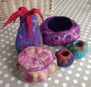 Wet felted pots