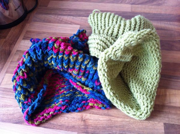 Loom knitted cowls