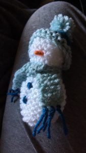 Snowman Knitted Decoration in progress
