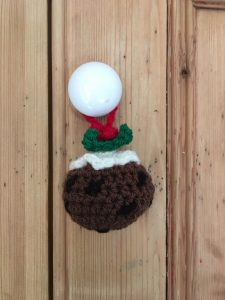 Christmas Pudding Crocheted Decoration