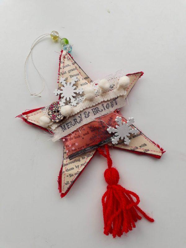 Mixed media festive star decoration