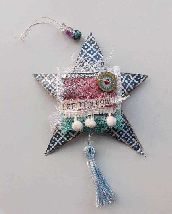 Mixed media festive star / let it snow decoration