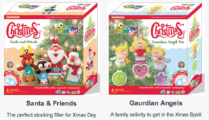 image showing 2 jumping clay kids sets to make christmas decorations
