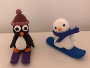 jumpingclay skiing penguin and snowboarding snowman