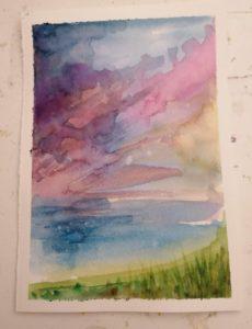 Watercolour landscape - virtual class at StraightCurves