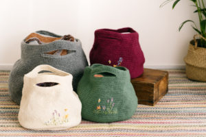 Display of completed bags from the StraightCurves Bubble Bag Kit