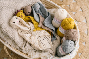 all cute comforters from the Cute Comforter Crochet Kit in a basket